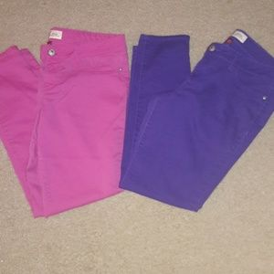 Two pairs of Colored  Skinny Leg Pants